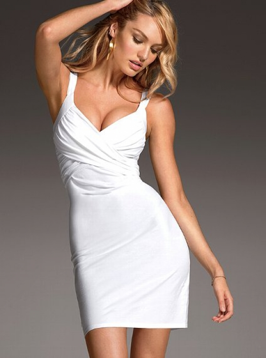 Drape-front Bra Top Dress in White
