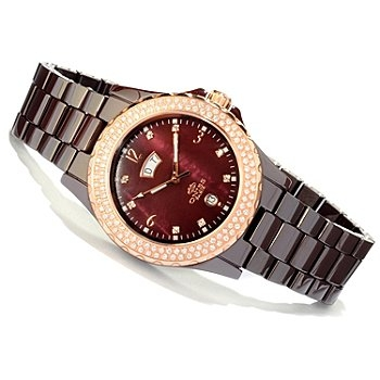 Royale Crystal Mother-of-Pearl Dial Ceramic Bracelet Watch