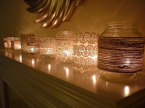 Mason jar candle holders and lace 3