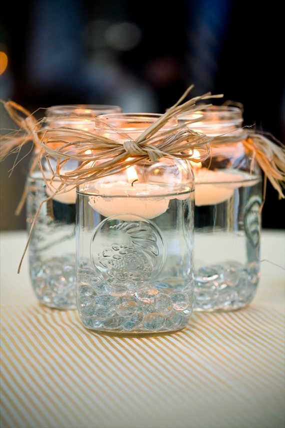 Mason Jar Wedding Table Centrepieces