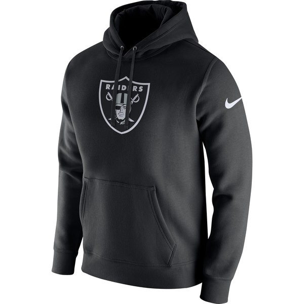 Men's Nike Black Oakland Raiders Club Fleece Logo Pullover Hoodie - Image 2