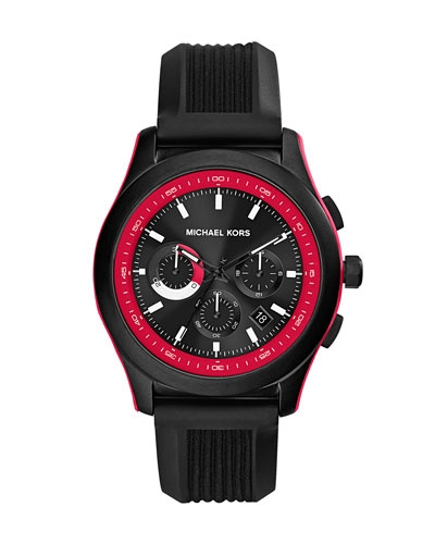 Michael Kors Black Silicone Outrigger Chronograph Watch