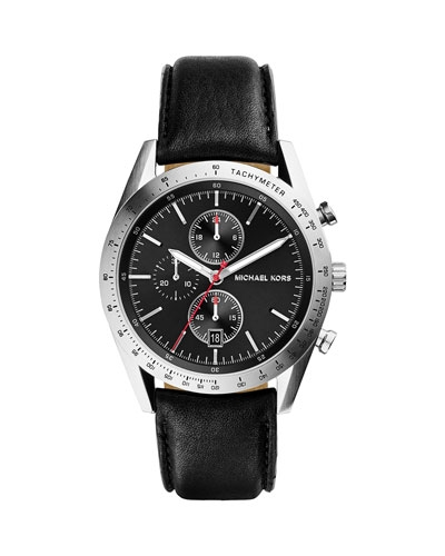 Michael Kors Leather Accelerator Chronograph Watch