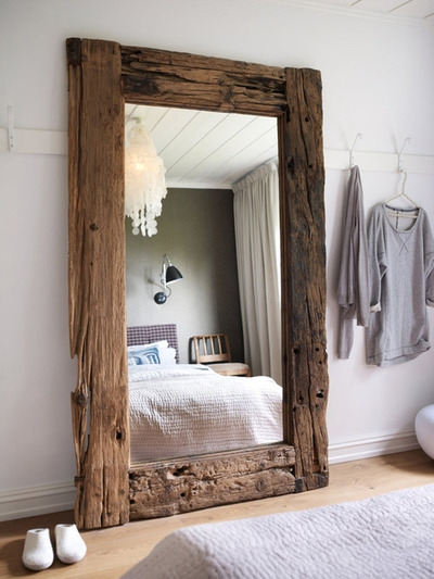 Mirror framed in large reclaimed boards - FaveThing.com