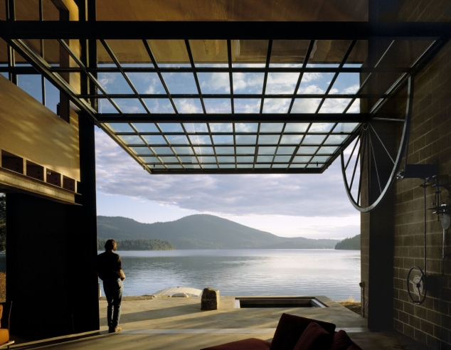 Modern Cabin with Massive Swinging Glass Wall - Image 3
