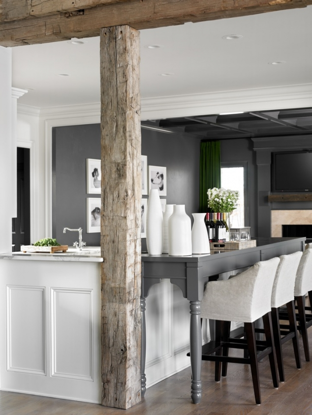 Modern kitchen with wood beams