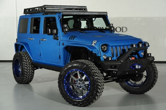 Modified Candy Blue Jeep Wrangler By Starwood Customs
