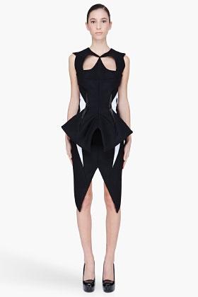 Mugler Black Wool Padded Cutout Dress Favething Com