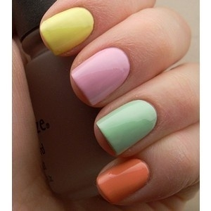 Multi colored pastel nails