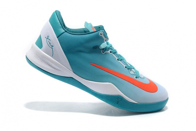 NBA Kobe Bryant 8 System Mambacurial White and Orange and Turquoise/Blue Mens Shoes