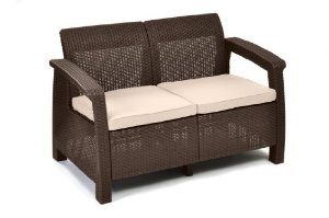 Outdoor wicker love seat