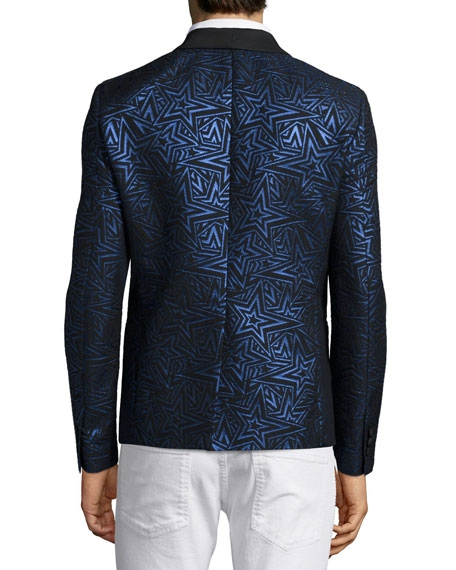 Pierre Balmain Star-Print Jacquard One-Button Evening Jacket - Image 2