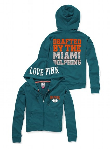 PINK Bling Slouchy Zip Hoodie - Miami Dolphins