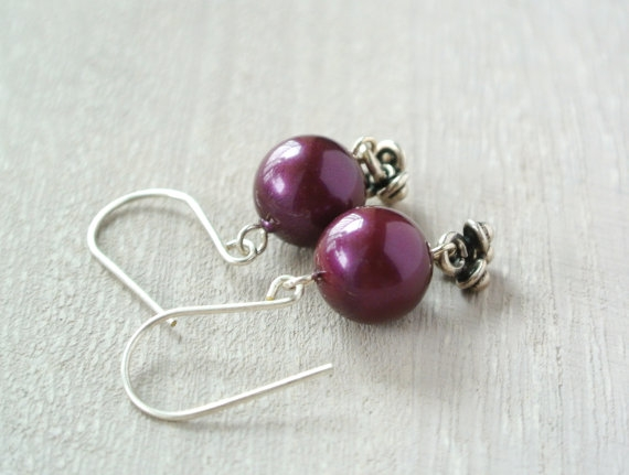 Plum Pearl Earrings