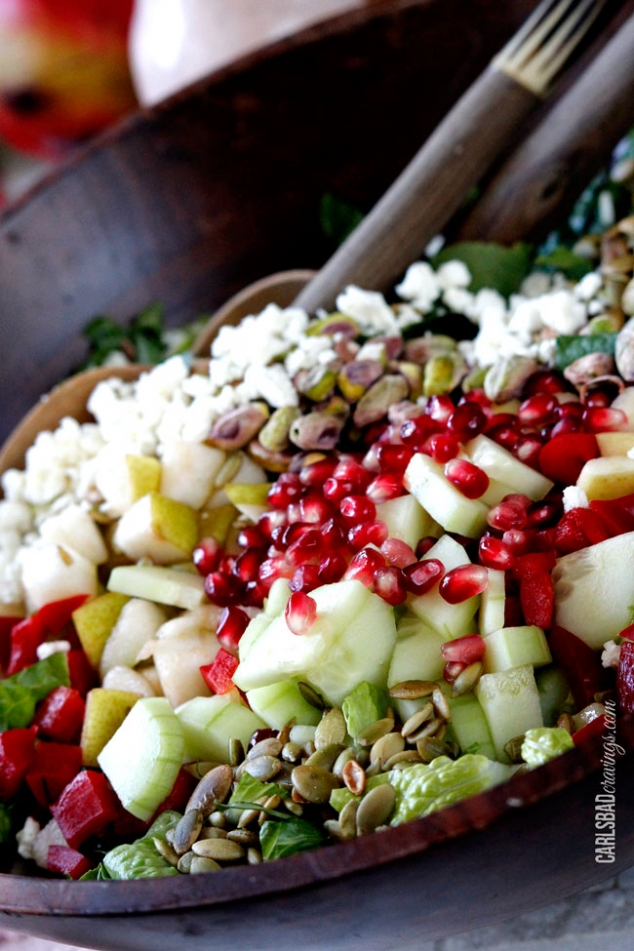 Pomegranate, Pear, Pistachio Salad with Creamy Pomegranate Dressing - Image 2