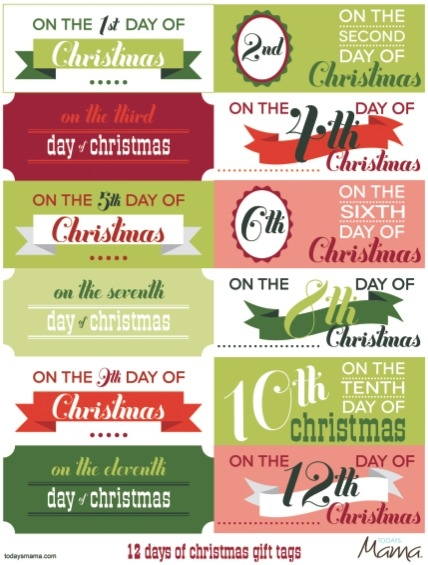 printable 12 days of christmas gift tags. Black Bedroom Furniture Sets. Home Design Ideas