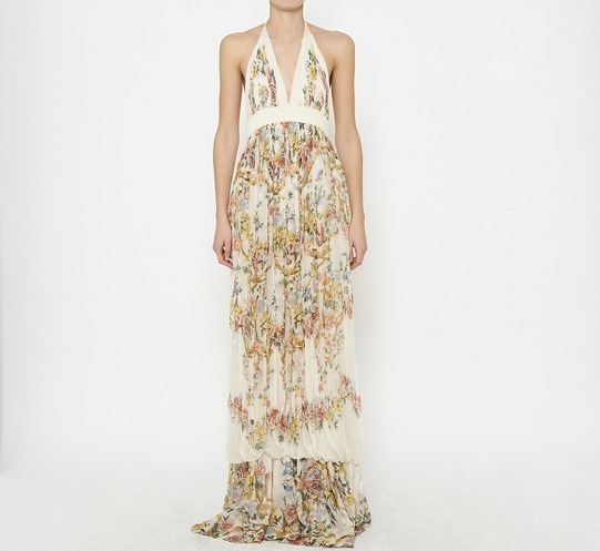Roberto Cavalli Ivory And Multicolor Dress