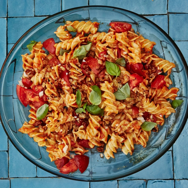 Romesco Pasta Salad with Basil and Parmesan