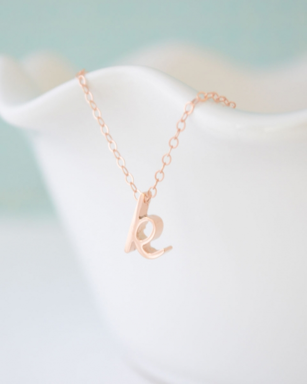 Rose gold letter necklace traumspuren rose gold initial pendant necklace favethingcom aloadofball Choice Image
