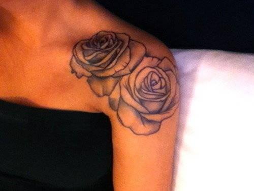 rose tattoo on shoulder. Black Bedroom Furniture Sets. Home Design Ideas