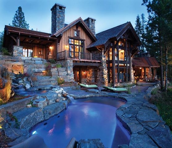 Rustic home with rustic landscaping for Custom rustic homes