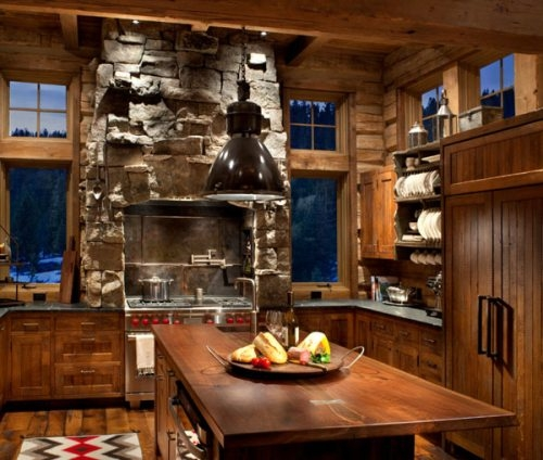 Rustic kitchen with modern amenities for Kitchen amenities list