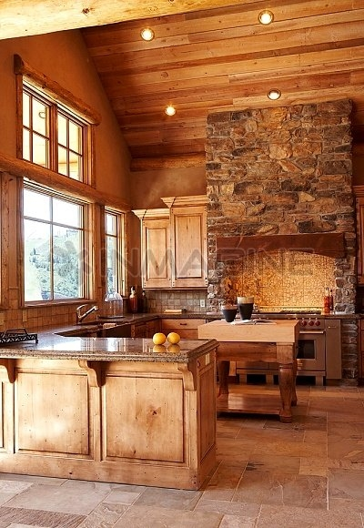 Rustic kitchen with vaulted ceilings