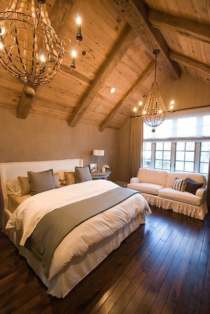 Rustic master bedroom for Master bedroom lighting ideas vaulted ceiling