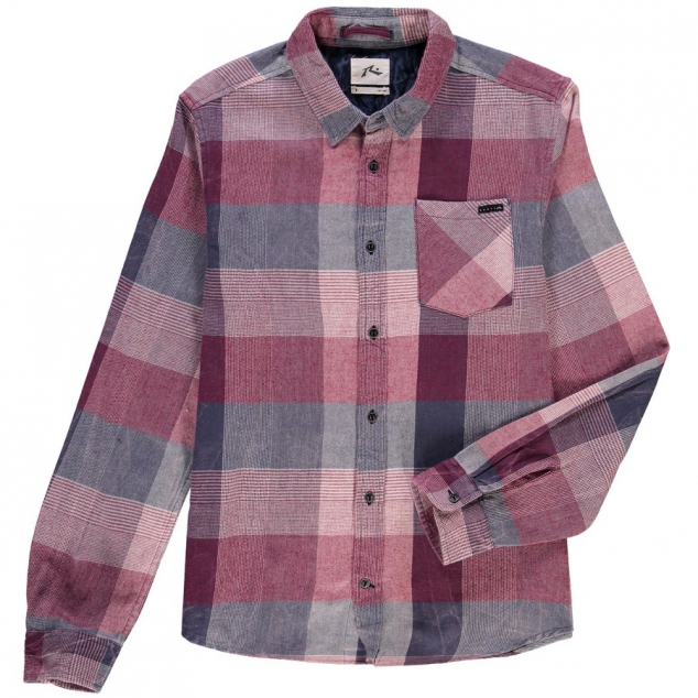 Rusty Red Riviera Long Sleeve Flannel Button-Up Shirt