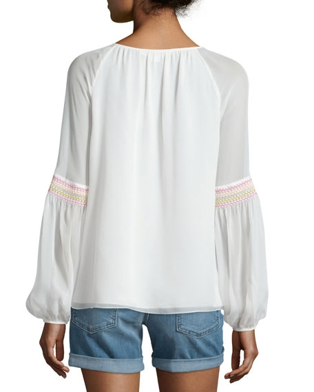 Sammy Embroidered Long-Sleeve Silk Top - Image 2