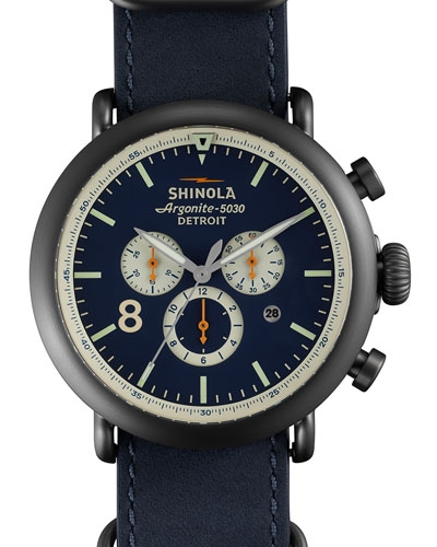 Shinola 47mm Runwell Chronograph Nylon Watch, Navy