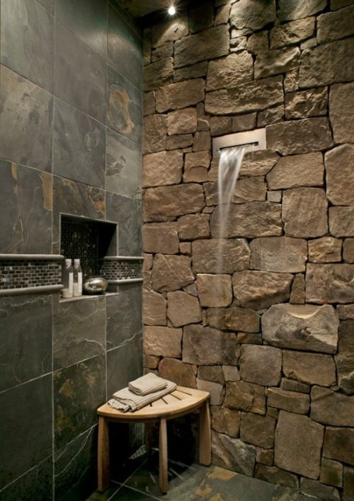 shower with stone and waterfall spout. Black Bedroom Furniture Sets. Home Design Ideas