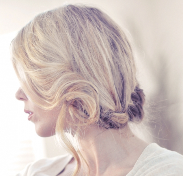Side French Braid Low Updo Hair Tutorial - FaveThing.com