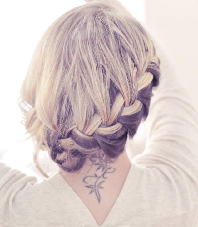Side French Braid Low Updo Hair Tutorial - Image 3