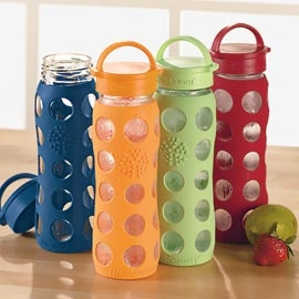 Silicone-Sleeve Glass Water Bottle