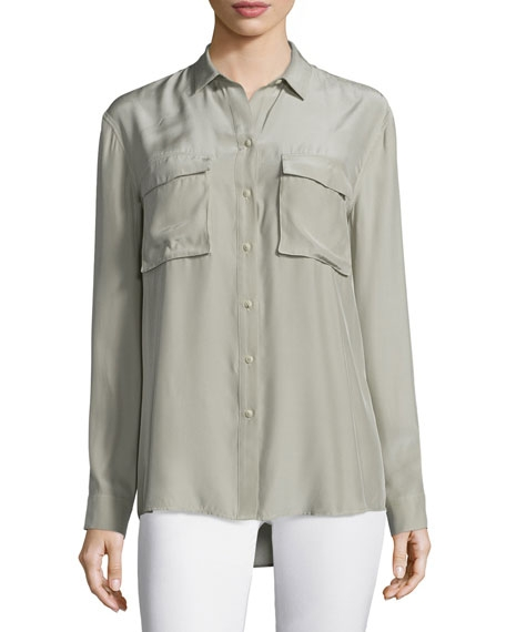 Silk Long-Sleeve Cargo Blouse