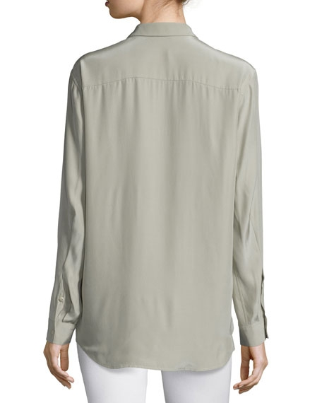 Silk Long-Sleeve Cargo Blouse - Image 2