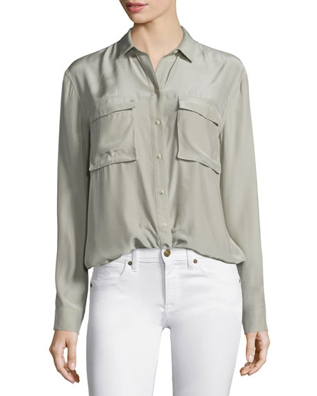 Silk Long-Sleeve Cargo Blouse - Image 3