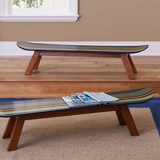 skateboard benches reusing old skateboards