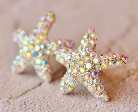 Sparkling Starfish Stud Earrings