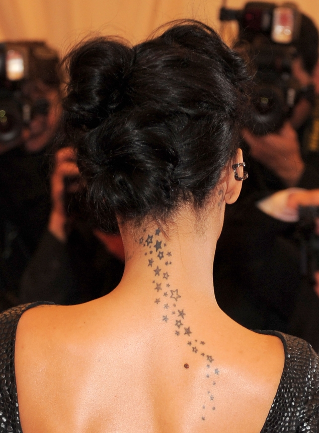 Stars neck tattoo