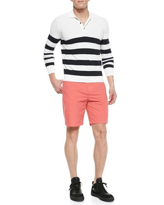 Burberry Striped Long-Sleeve Polo Shirt