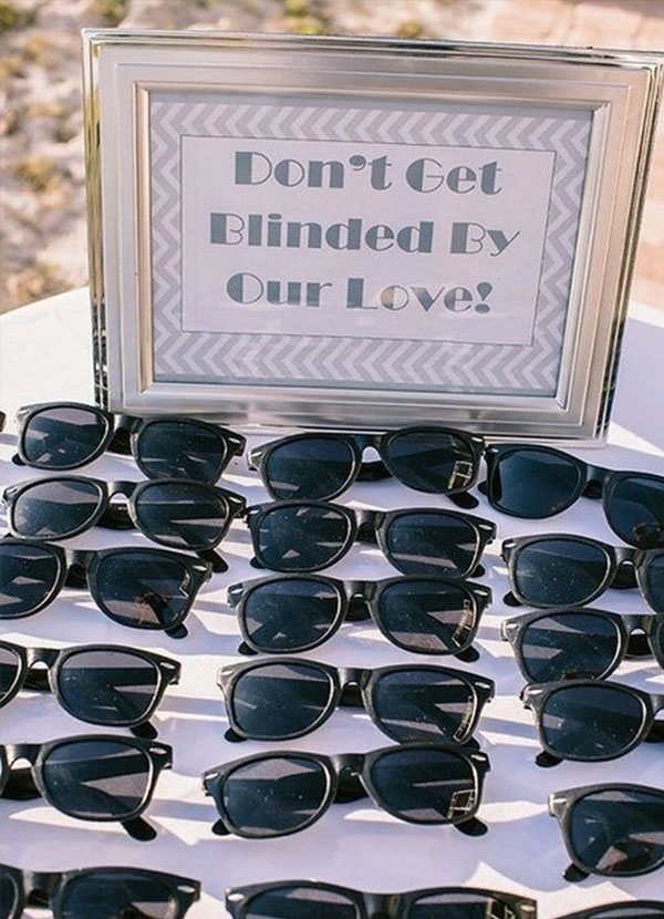 Sunglasses for wedding favors at a destination wedding