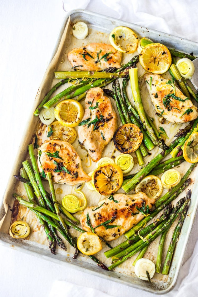 Tarragon Chicken with Asparagus, Lemon and Leeks
