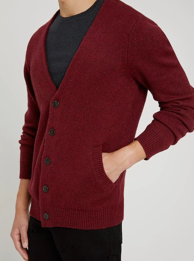 The Donegal Cardigan in Scarlet Sage