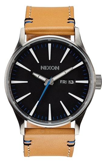 'The Sentry' Leather Strap Watch, 42mm by Nixon