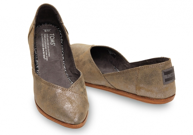 Toms Gunmetal Synthetic Leather Women's Jutti Flat