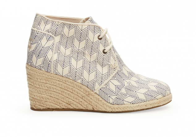 Toms Whisper Canvas Sashiko Women's Desert Wedges
