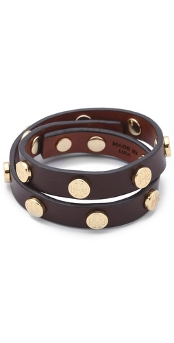 Tory Burch Double Wrap Logo Leather Bracelet