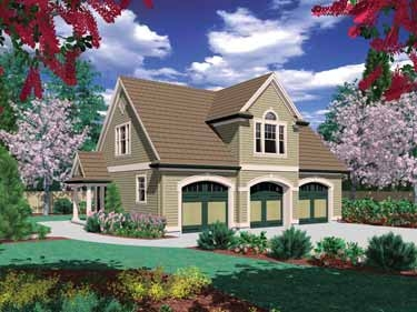 Traditionally styled 3 car garage with 2 bedroom in law for House plans with detached guest suite